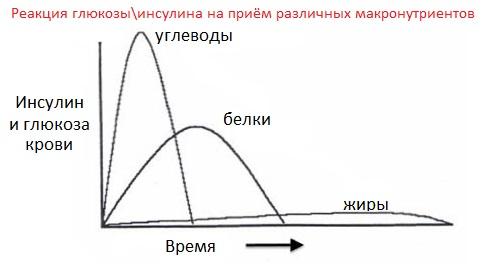 Реакция инсулина\глюкозы на различные макронутриенты